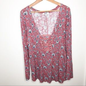 William Rast Plus Size Pink Floral V Neck Top 3X